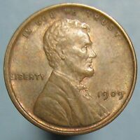 1909 VDB LINCOLN CENT - BROWN UNCIRCULATED WITH A BIT OF RED