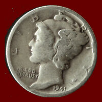 1941-P MERCURY 90 SILVER DIME SHIPS FREE. BUY 5 FOR $2 OFF