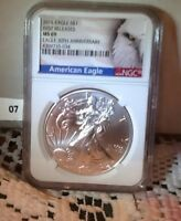 2016 1 OZ AMERICAN EAGLE MS 69 NGC  FIRST RELEASES 30TH ANNIV.
