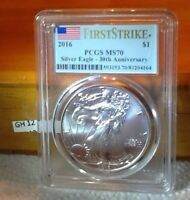 2016 SILVER EAGLE  FLAG. MS 70 PCGS FIRST STRIKE 30TH ANIV