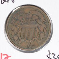 1868 2C TWO CENT PIECE FINE CONDITION 164900