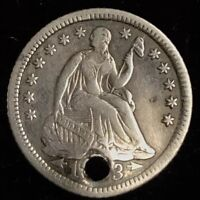 1853 O SEATED LIBERTY HALF DIME WITH ARROWS   HOLED