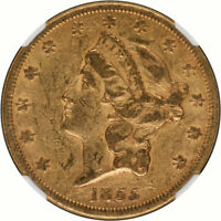AND ORIGINAL 1855 GOLD $20.00 LIBERTY NGC XF45 PQ   TOUGHCOINS