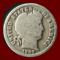 1907 O BARBER 90  SILVER DIME SHIPS FREE. BUY 5 FOR $2 OFF