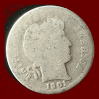 1901 P BARBER 90  SILVER DIME SHIPS FREE. BUY 5 FOR $2 OFF