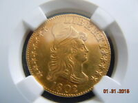 1802/1 DRAPED BUST 5.00 GOLD HALF EAGLE NGC GRADED  UNC DETAILS  BEAUTIFUL COIN
