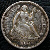 1861 H10C SEATED LIBERTY HALF DIME EXTRA FINE  EXTRA FINE TONED