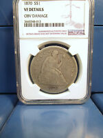 1870 SEATED LIBERTY SILVER DOLLAR $1 VF DETAILS NGC