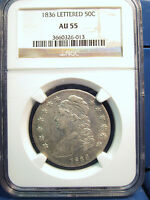 1836 CAPPED BUST SILVER HALF DOLLAR 50C LETTERED EDGE NGC AU55