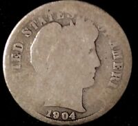 1904-P 10C BARBER DIME OLL 90 SILVER SHIPS FREE & HANDLING,