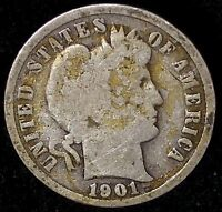 1901-P 10C BARBER DIME OLL 90 SILVER SHIPS FREE & HANDLING,