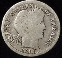 1914-P 10C BARBER DIME OLL 90 SILVER SHIPS FREE & HANDLING,
