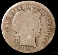 1898-P 10C BARBER DIME OLL-2 90 SILVER SHIPS FREE & HANDLING,