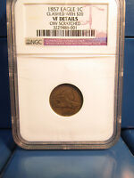 1857 EAGLE 1C CENT CLASHED WITH $20 VF DETAILS NGC