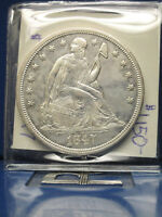 1847 SEATED LIBERTY SILVER DOLLAR $1 ALMOST UNCIRCULATED 58