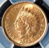 PCGS MINT STATE 64 RED 1865 INDIAN HEAD CENT