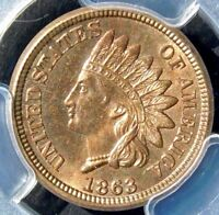 RED GEM PCGS MINT STATE 65 1863 INDIAN CENT