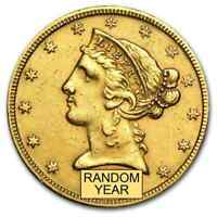 $5 LIBERTY GOLD HALF EAGLE  CLEANED    SKU 9122