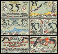 OBERAMMERGAU NOTGELD / 1921 / COMPLETE SET THREE NOTES   UNC   1633AD   1922AD