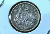 1918 M AUSTRALIA STERLING SILVER THREEPENCE
