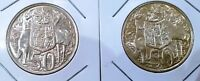 1966 AUSTRALIA  2 X ROUND 50C FIFTY CENTS SILVER COINS
