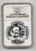 1994 SMALL DATE CHINA SILVER 1OZ PANDA S10Y COIN NGC MS 69
