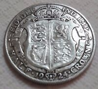 UK 1924 SILVER HALF CROWN COIN KING GEORGE V BEAUTY OLD LARG