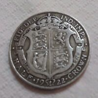 UK 1922 SILVER HALF CROWN COIN KING GEORGE V BEAUTY OLD LARG