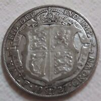 UK 1927 SILVER HALF CROWN COIN KING GEORGE V BEAUTY OLD LARG