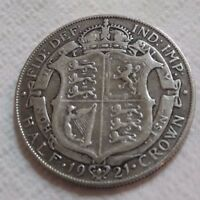 UK 1921 SILVER HALF CROWN COIN KING GEORGE V BEAUTY OLD LARG
