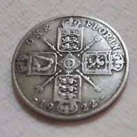 UK 1922 SILVER FLORIN COIN TWO SHILLINGS KING GEORGE BEAUTY