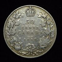 1919 CANADA 50 CENT PIECE STERLING SILVER COIN COIN IS CLEANED  BB1741