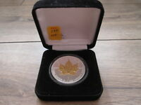 2007 CANADA 1 OZ SILVER MAPLE LEAF   SELECTIVELY GOLD PLATED REVERSE WITH BOX.