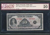 1935 $10 BANK OF CANADA VF20 BCS CERTIFIED. BC 7. BOOK VALUE $525
