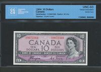 1954 $10 BANK OF CANADA DEVIL'S FACE CCCS CHOICE UNC 63 BC 32A COYNE TOWERS WK