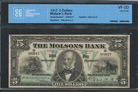 Click now to see the BUY IT NOW Price! 1912 THE MOLSON'S BANK $5. CCCS VF20. 490 32 02.  BANKNOTE.