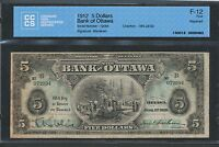 Click now to see the BUY IT NOW Price! 1912 THE BANK OF OTTAWA $5. FINE F 12 CCCS. 565 22 02.  PIECE.