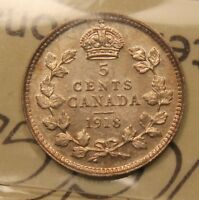 1918 CANADA SILVER 5 CENTS. AU 55 ICCS CERTIFIED. NICE LUSTRE. WK