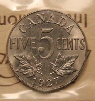1927 CANADA 5 CENTS ICCS MS 63 CHOICE UNCIRCULATED. BV $210
