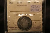 1887 CANADA SILVER 25 CENTS. ICCS G6.  KEY DATE QUARTER.