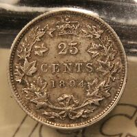 1894 CANADA SILVER 25 CENTS. ICCS EF 40. HIGH GRADE KEY DATE COIN. BV $450