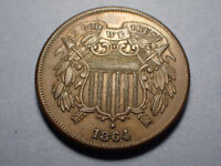 1864 TWO CENT US COPPER COIN CIVIL WAR ERA CIRCULATED ORIGINAL; IN GOD WE TRUST