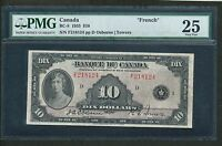 1935 $10 BANK OF CANADA. FRENCH ISSUE. VF 25 PMG. BC 8. BOOK VALUE $1125.
