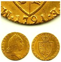 1791 KING GEORGE III 3RD FULL 22CT GOLD GUINEA COIN BRITISH MILLED ANTIQUE 8.4G