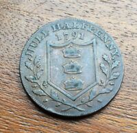 YORKSHIRE 1791 COPPER TOKEN   D&H 17 HULL WILLIAM III