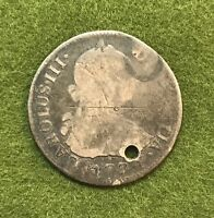 1774 SPANISH SILVER 2 REALE COIN   SPAIN PIRATE SHIPWRECK TREASURE   HOLED