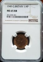 1949 GREAT BRITAIN FARTHING 1/4P NGC MS 65RB