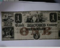 $1 THE BANK OF MACOMB COUNTY MICH. 1800'S  BN6