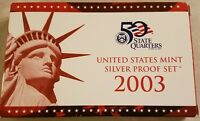 2003 SILVER PROOF SET BOX AND C.O.A. NO COINS