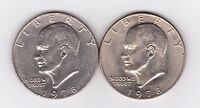 1978P & 1978D EISENHOWER DOLLAR COINS.  TWO NICE COINS